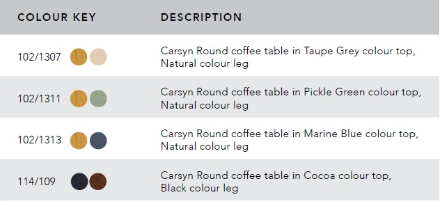 carsyn round coffee table color chart